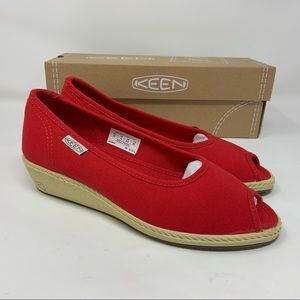 Keen Shoes Cortona Red Wedge Heel Shoes
